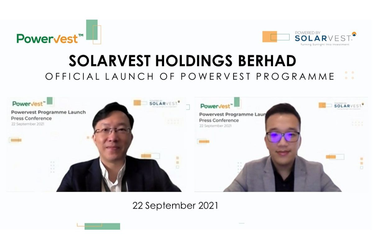 """Solarvest group CEO Davis Chong (left) with Solarvest business development director Jack Tan at the virtual launch of the company's all-new solar financing programme — """"Powervest"""" — envisioned to promote the adoption of renewable energy in Malaysia on Wednesday. (Photo by Solarvest)"""