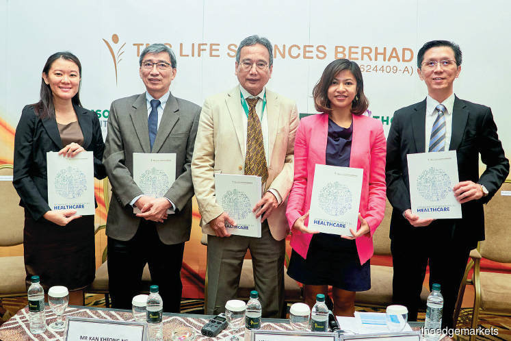 (From left) TMC Women's Specialist Holdings Sdn Bhd CEO Irene Kwan Yee Man, TMC Life Sciences executive director Barry Kan Kheong Ng, TMC Life Sciences chairman professor emeritus Datuk Dr Khalid Abdul Kadir, Wan Nadiah and Wong at the press conference after the group's AGM yesterday.