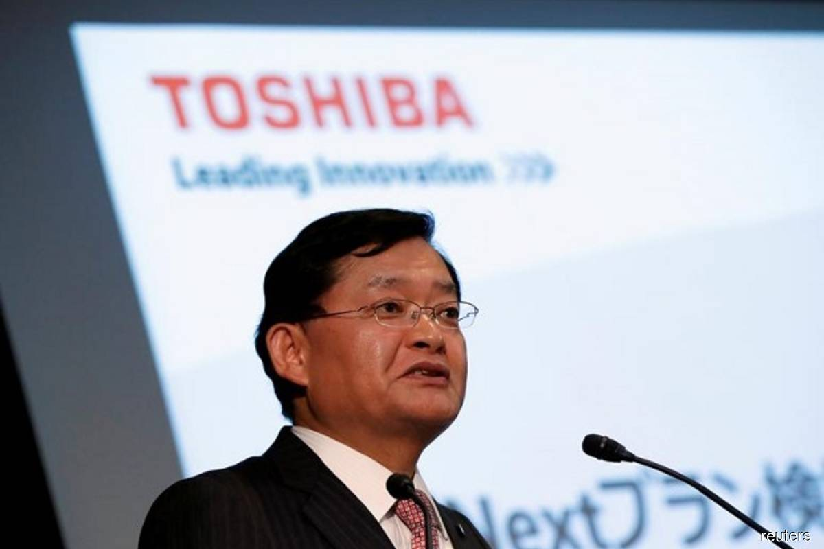 Toshiba Corp's CEO Nobuaki Kurumatani attends a news conference at the company's HQ in Tokyo, Japan on May 15, 2018 (Reuters filepix by Issei Kato)