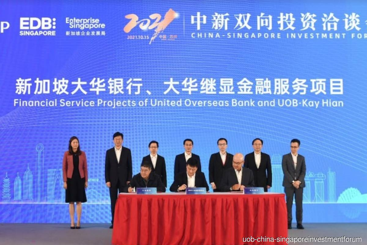 Suzhou Industrial Park Administrative Committee, UOB China and UOB Kay Hian sign MOU