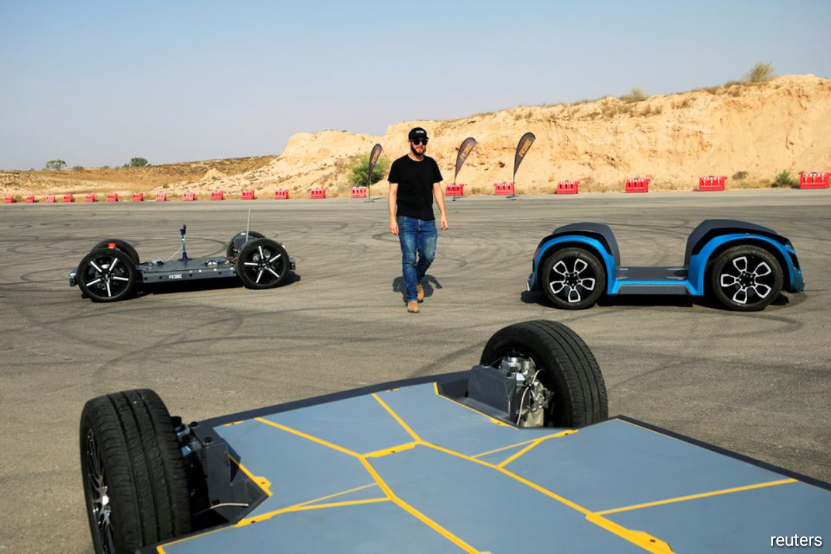 Prototypes of a rolling chassis for electric vehicles developed by Israel's REE Automotive, is seen during a test drive in Beersheba, southern Israel September 17, 2020.