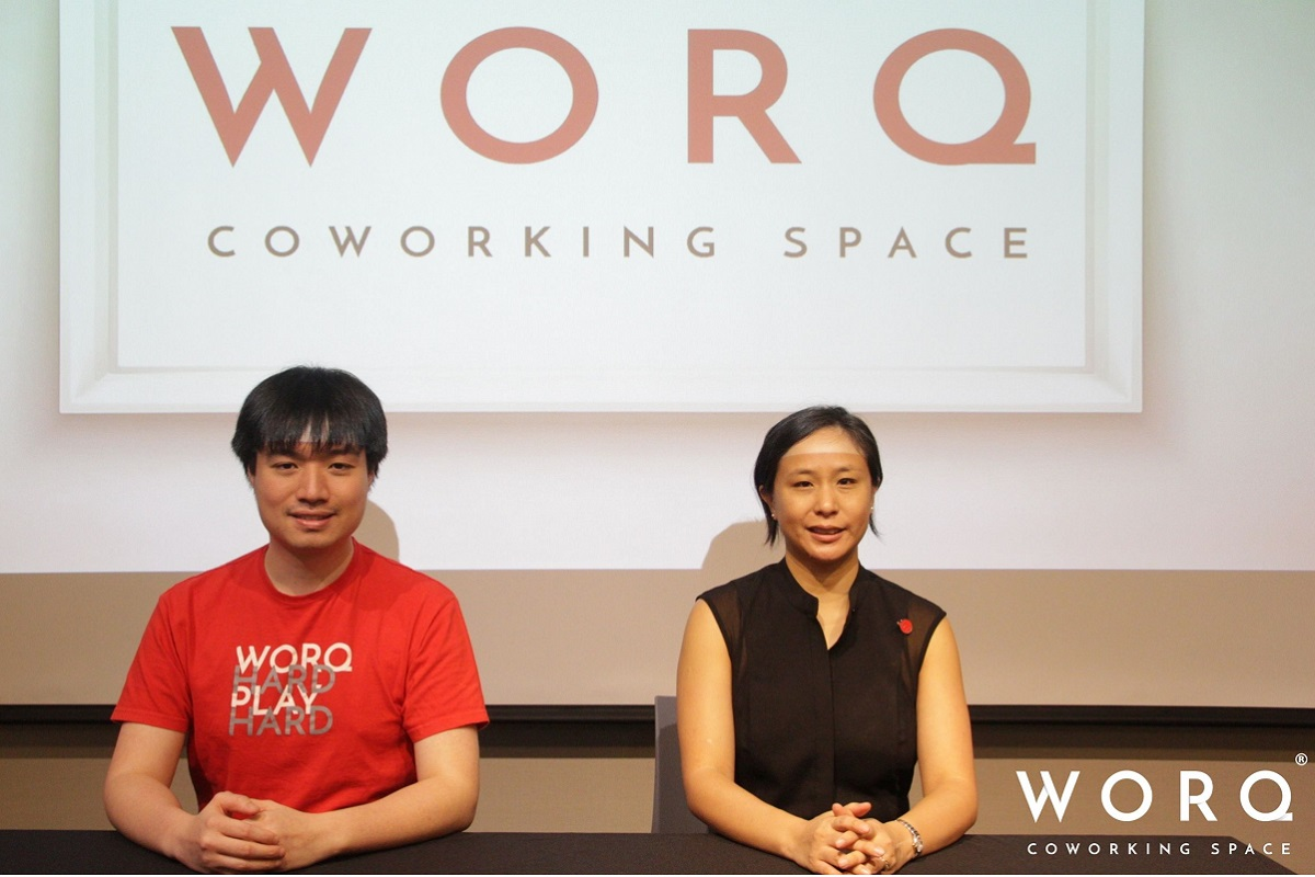 Yeow (left) and Ping at the press conference highlighting WORQ's expansion plans. (Photo by WORQ)