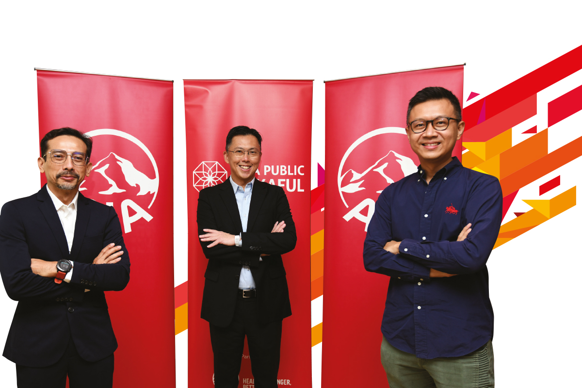 (From left) Elmie Aman Najas, Chief Executive Officer of AIA PUBLIC Takaful Bhd; Ben Ng, Chief Executive Officer of AIA Bhd; and Eric Chang, Chief Executive Officer of AIA General Bhd at  AIA Malaysia's media briefing event