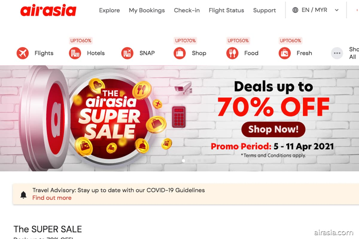AirAsia's Super Sale offers discounts of up to 70%
