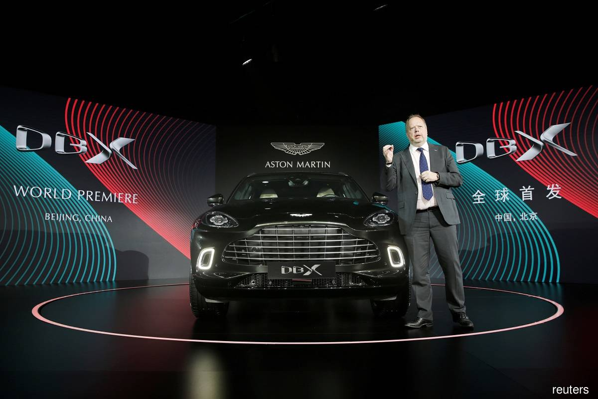Aston Martin CEO Andy Palmer launching the DBX in Beijing, China on Nov 20, 2019.