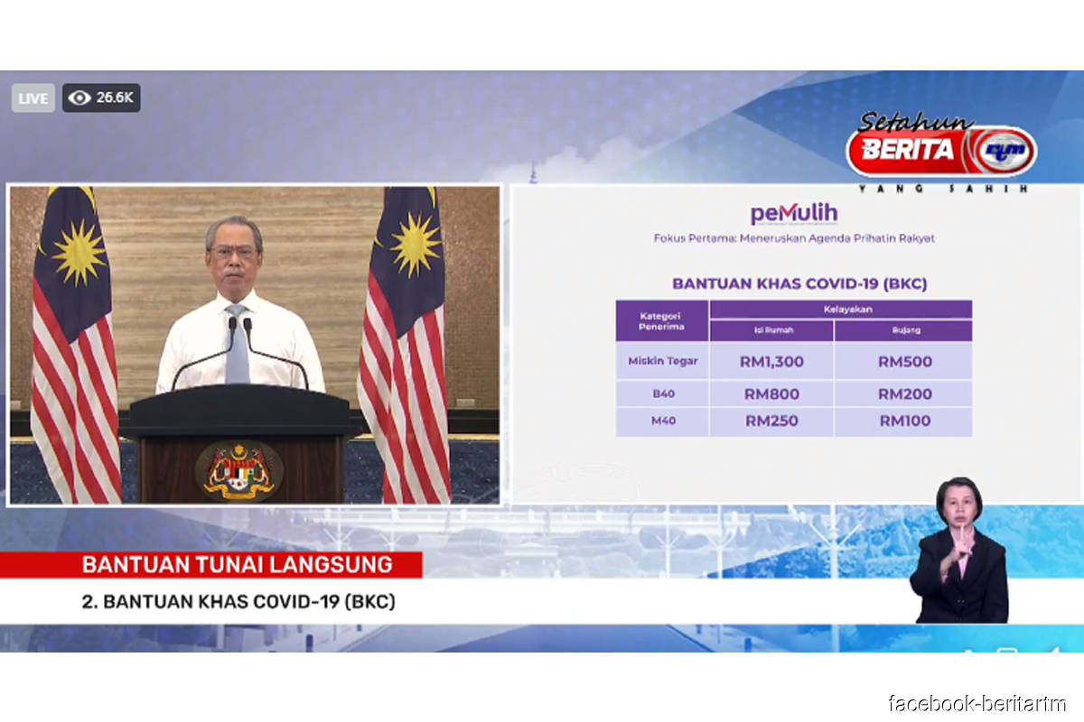 B40 households to receive RM500 from the govt in August and RM300 in December; B40 singles to receive RM200 in August
