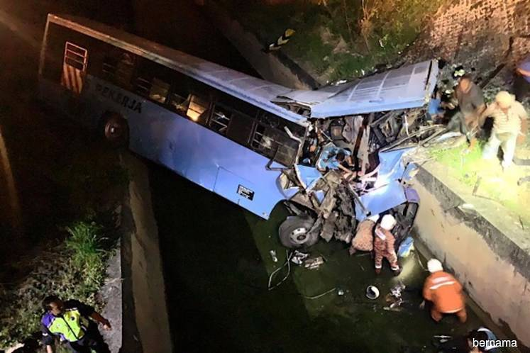 12 die, 32 injured as bus plunges into ditch in Sepang