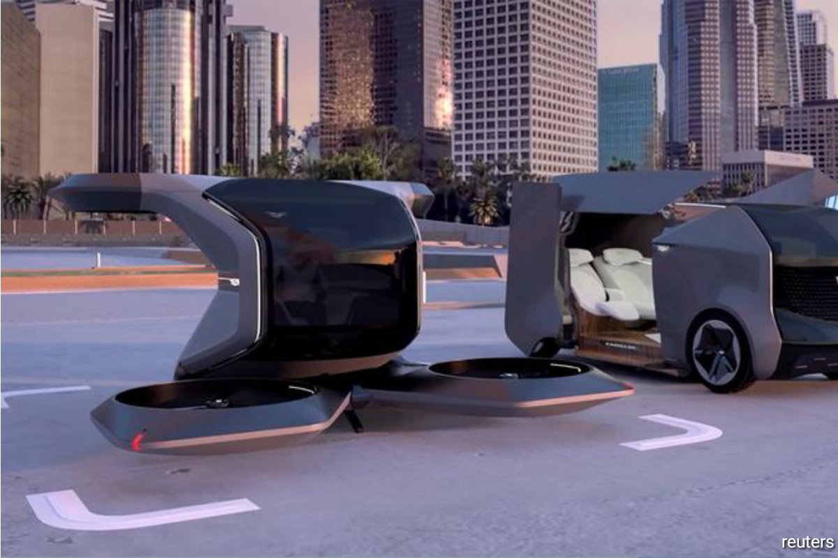 The flying Cadillac was presented in a video as part of a virtual keynote presentation by Chief Executive Mary Barra, along with a family-friendly Cadillac electric shuttle.