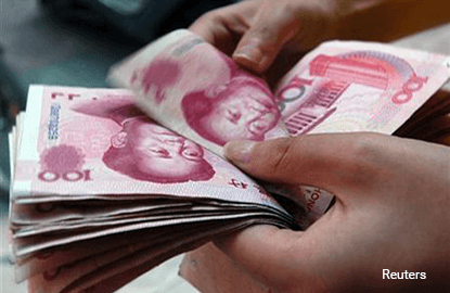 China's yuan up sharply on c.bank intervention but derivatives stabilise