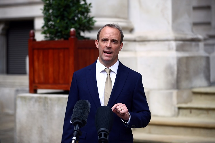 Britain foreign minister Dominic Raab (Photo by Reuters)