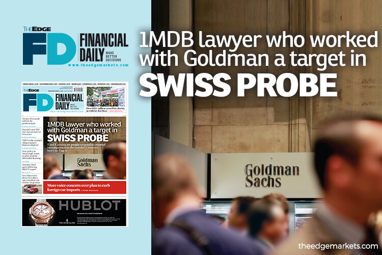 Goldman-linked 1MDB lawyer a Swiss probe target