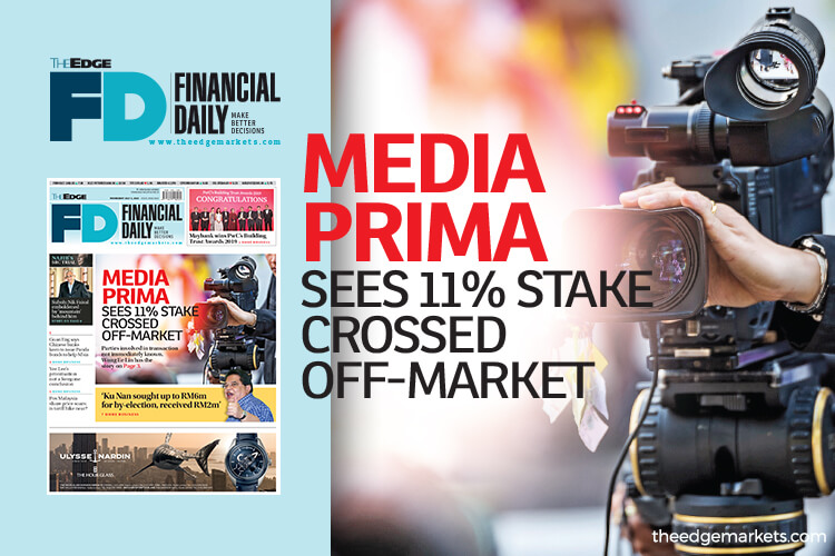 Media Prima sees 11% stake crossed off-market