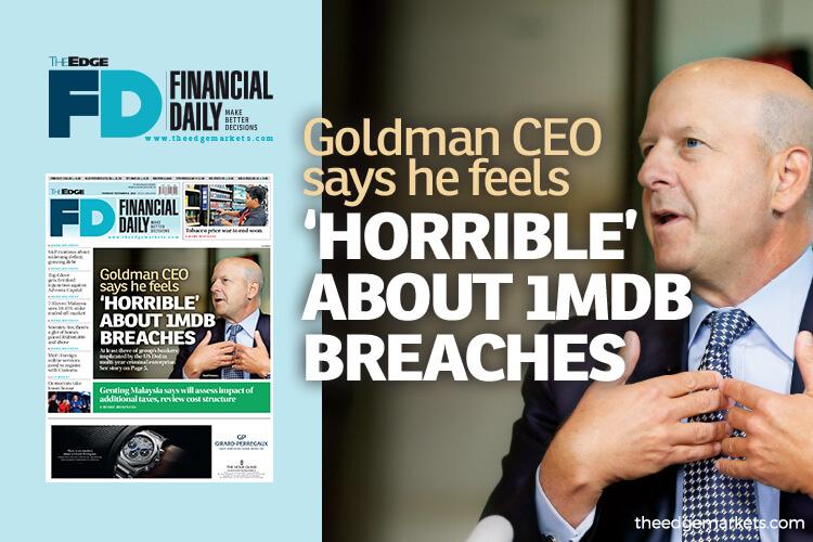 Goldman Sachs CEO feels 'horrible' about 1MDB breaches