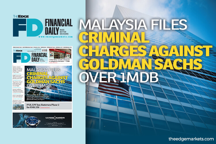 Malaysia files criminal charges against Goldman over 1MDB
