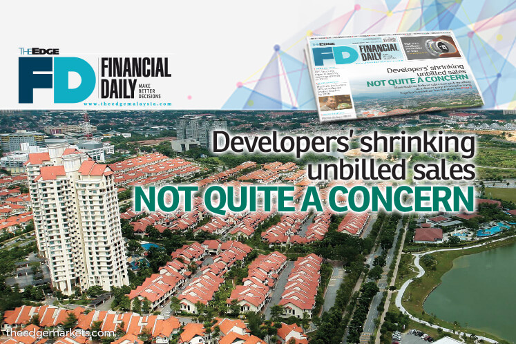 Developers' shrinking unbilled sales not quite a concern
