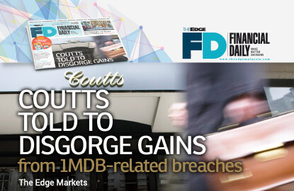 Coutts told to disgorge gains from 1MDB-related breaches