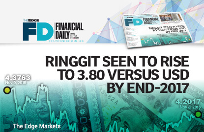 Ringgit seen to rise to 3.80 versus USD by end-2017