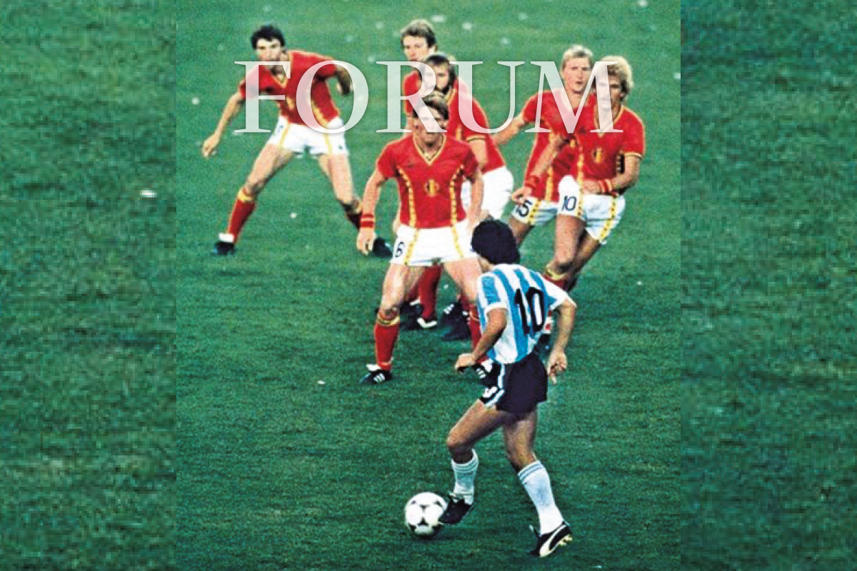 Maradona in action against six Belgium players ... He transcended the sport like no other footballer