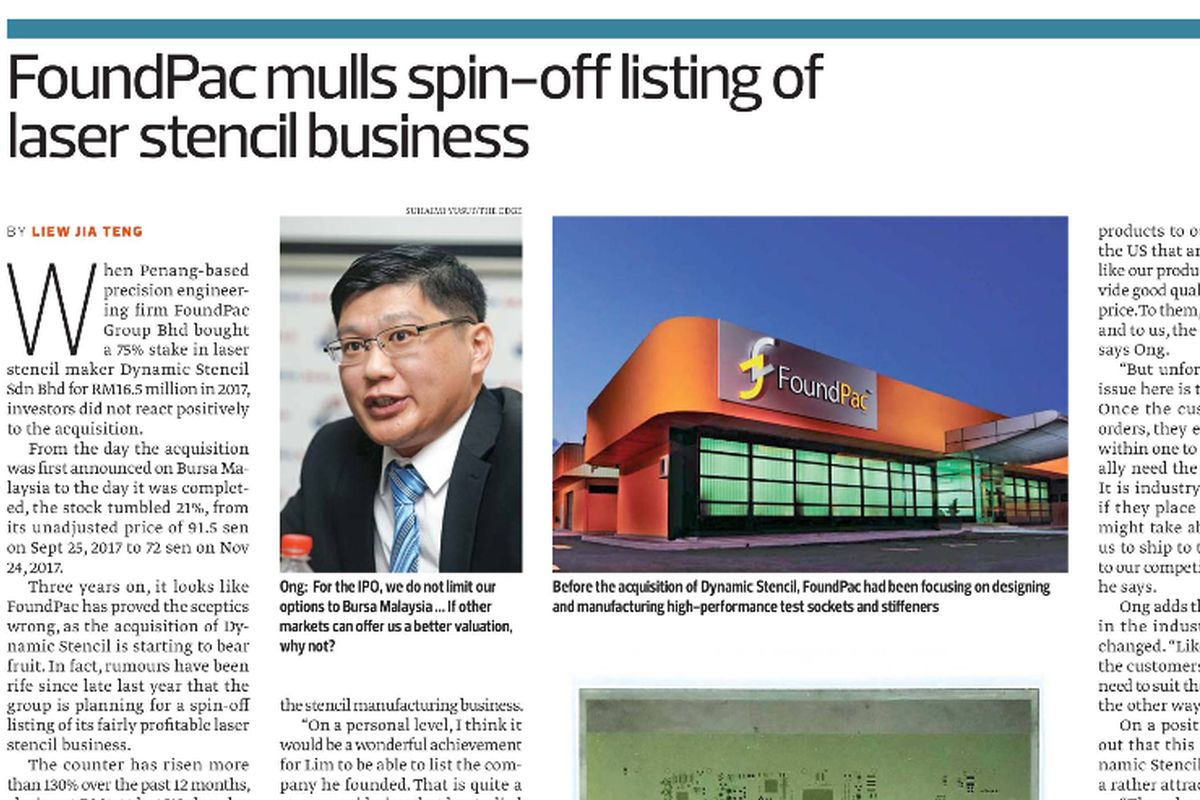 FoundPac mulls ACE Market listing for Dynamic Stencil