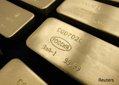 Gold up as dollar, shares fall on China worries