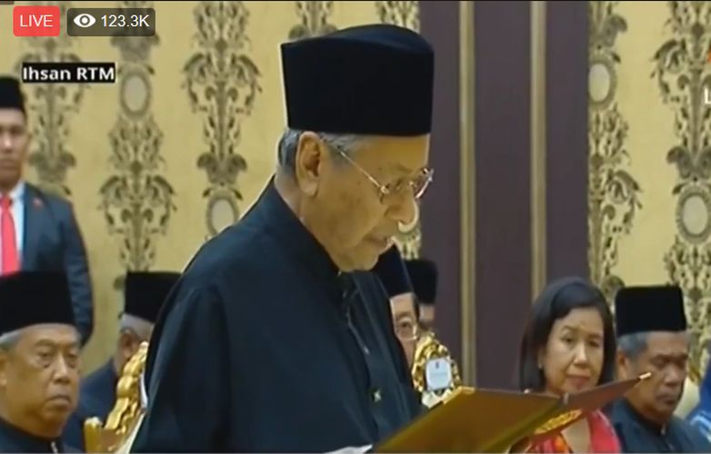 (May 10): Tun Dr Mahathir Mohamad has just been sworn in as the 7th Prime Minister of Malaysia in a ceremony at the Istana Negara tonight.