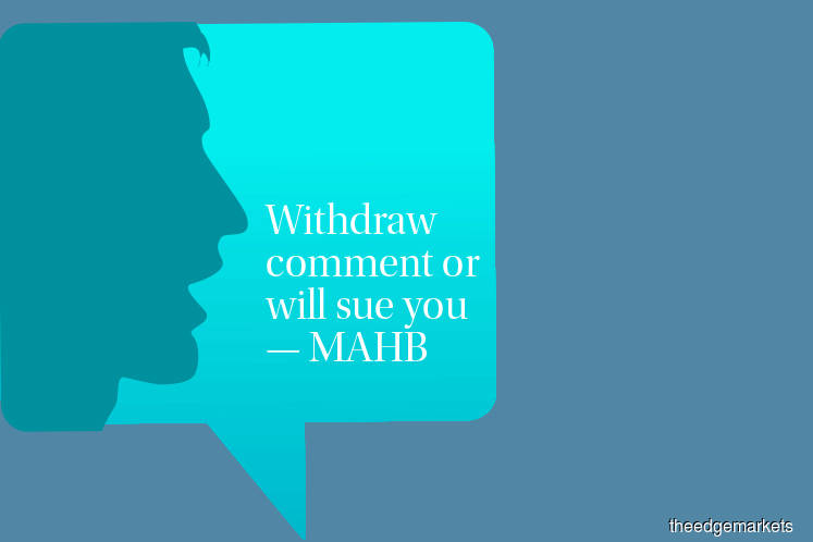 Withdraw comment or will sue you — MAHB