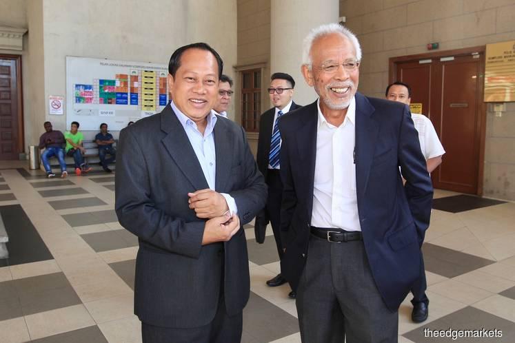 Former deputy finance minister Datuk Seri Ahmad Maslan (left) with former Johor Bahru MP Tan Sri Shahrir Samad. (Photo by Shahrin Yahya/The Edge)