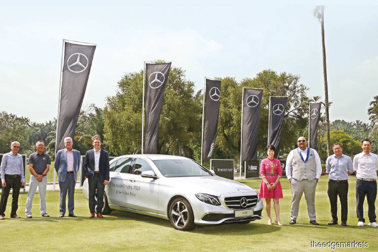 (From left) Epos' Tham Onn Chuan, CrestLink's Raymond Yee, Saujana Hotels & Resorts' Peter Hourigan, Weidner, Carlsberg's Pearl Lai, Kinslager's Papi Zak, Mercedes-Benz Financial Services' Paul Wong and TaylorMade's Justin Fong at the launch of the MercedesTrophy yesterday. (Photo by Sam Fong)