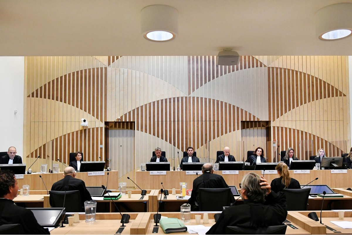 General view during the trial of the Malaysia Airlines flight MH17 in the high-security courtroom of The Schiphol Judicial Complex in Badhoevedorp, Netherlands, Aug 31, 2020.