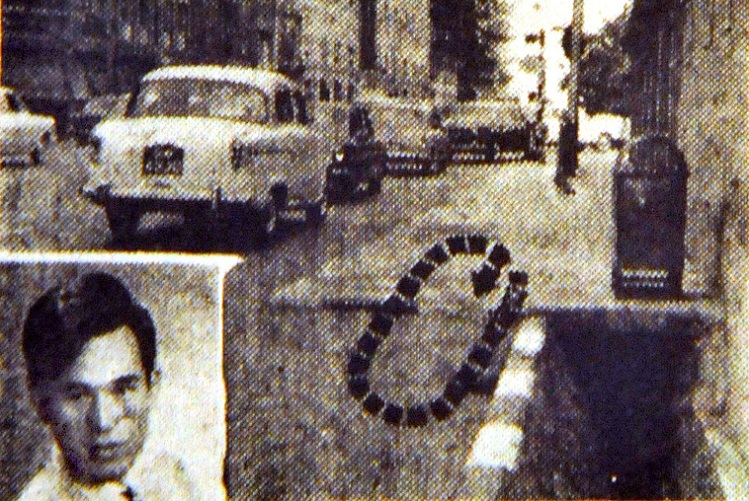 A newspaper clipping showing the area near the junction of Singapore's Bras Basah and North Bridge Road, where an attack on Oct 24, 1969 led to the injury of nightclub singer Lim Kai Ho and the death of Lam Cheng Siew (unseen). Roland Tan Tong Meng was wanted for the murder. (Singapore Press Holdings/Shin Min Daily News via Reuters)