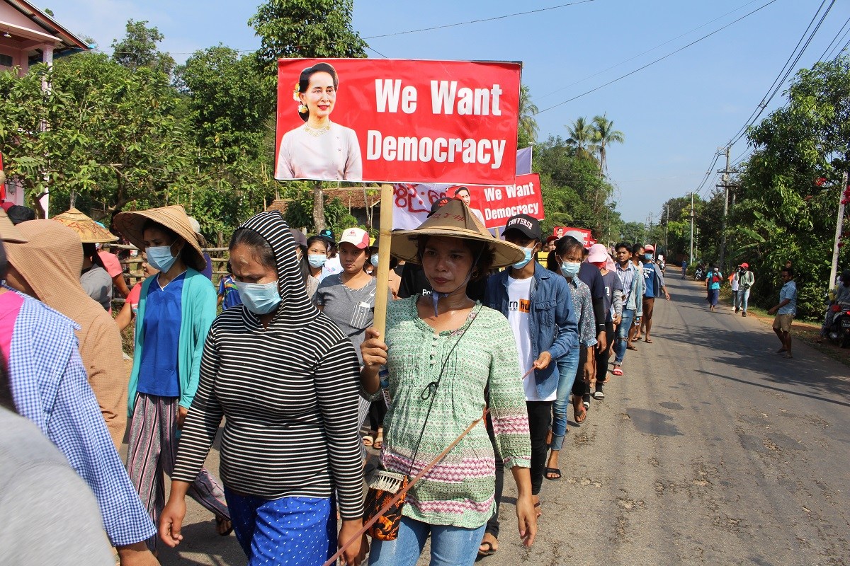 Villagers attend a protest against the military coup, in Launglon township, Myanmar, April 4, 2021 in this picture obtained from social media. (Dawei Watch/via Reuters)