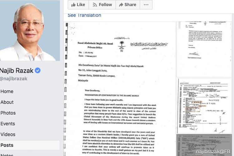Najib reveals 'proof' of US$100m donation from Saudi royalty