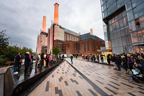 The occasion was marked on Monday May 24, 2021 with a special public performance by members of the London Symphony Orchestra, who played at the foot of the Power Station, alongside Battersea Power Station's own Community Choir, as visitors and residents enjoyed alfresco dining at the restaurants and bars along the riverfront. (Photo credit: Ian Gavan/Getty Images for BPS)