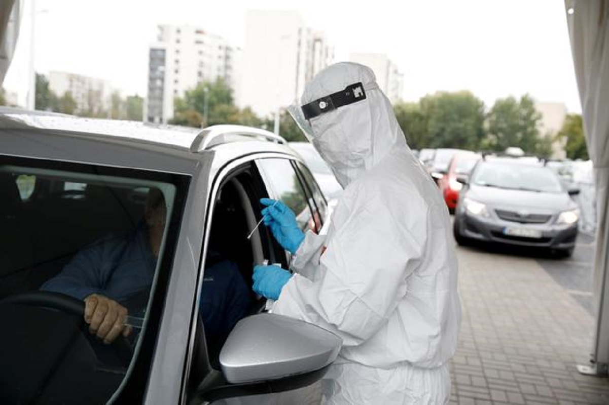 People are tested for Covid-19 at a drive-thru testing centre in Warsaw, Poland, Oct 2, 2020. (Photo by Reuters)