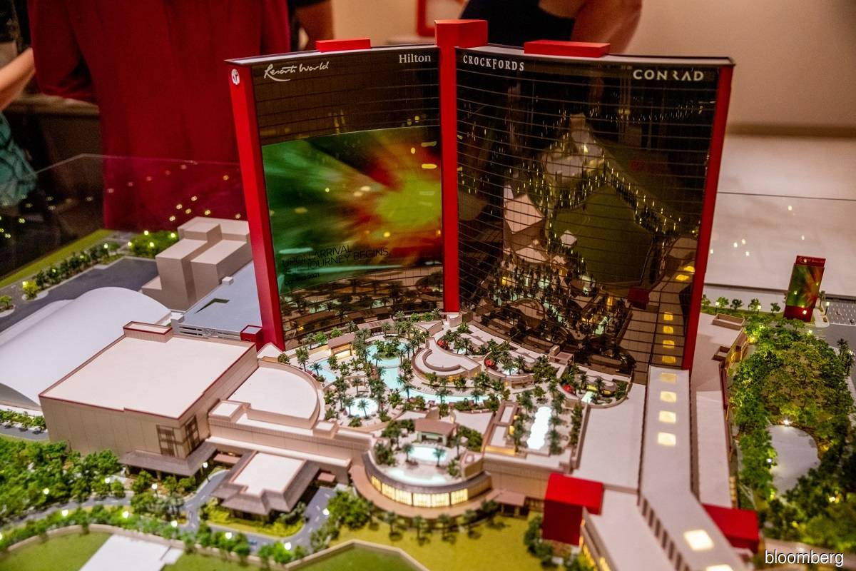 A scale model of the Resorts World Las Vegas on display during a media preview in Las Vegas, Nevada, the US on June 22, 2021.
