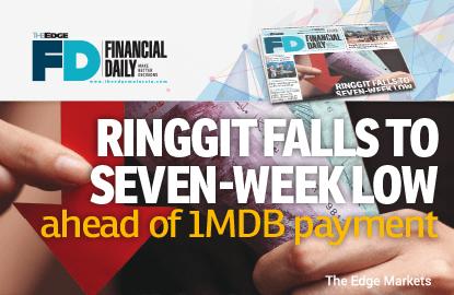 Ringgit falls to 7-week low ahead of 1MDB payment