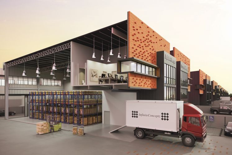 The freehold semi-detached factories boast a versatile tri-functional design that incorporates large, unobstructed warehouse space, a reception hall and office area with double volume ceiling height.