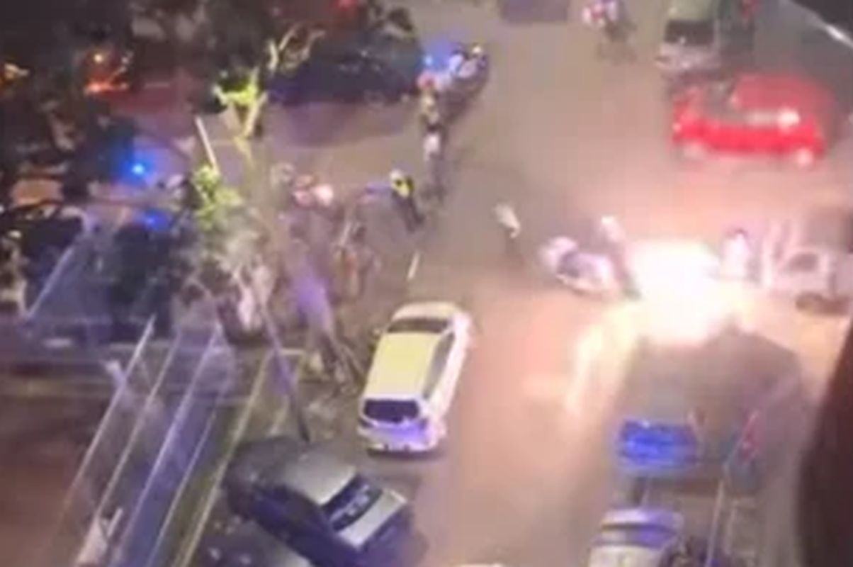 Fireworks thrown at police after crowd told to disperse