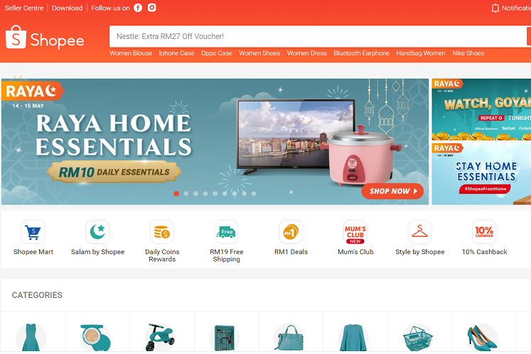 Shopee beats Lazada in 1Q20 in Malaysia in website visits