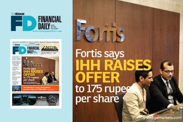 Fortis:IHH上调报价至每股175卢比
