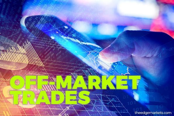 Off-Market Trades: Destini Bhd, Hartalega Holdings Bhd, PUC Bhd, SMTrack Bhd, UMW Oil & Gas Corp Bhd, S P Setia Bhd