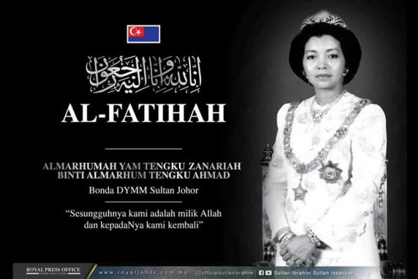 Sultan Ibrahim's stepmother laid to rest