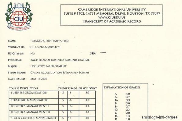 Marzuki provides proof of Cambridge International University degree