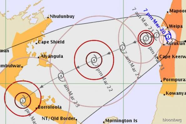 Cyclone lurks off West Australia as storm hits Rio mine in East