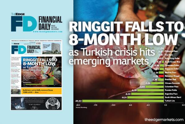 Ringgit falls to eight-month low as Turkish crisis hits EMs