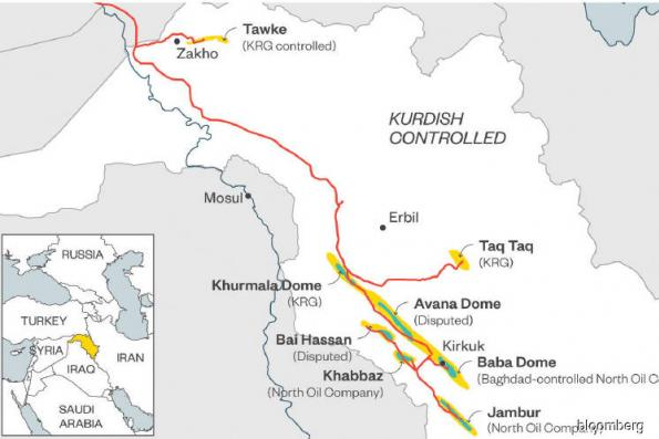 This map shows why oil can weather Iraq's Kirkuk campaign