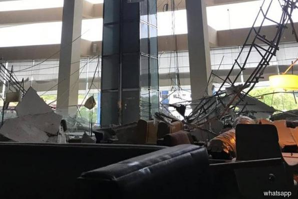 Bangladesh worker injured as ceiling of hotel lobby collapses