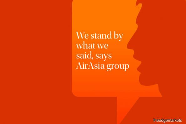 We stand by what we said, says AirAsia group