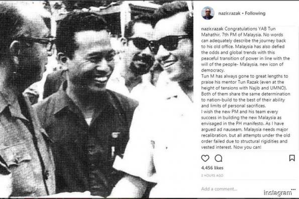 Nazir posts photo of late father with Dr Mahathir in congratulatory message to the new PM