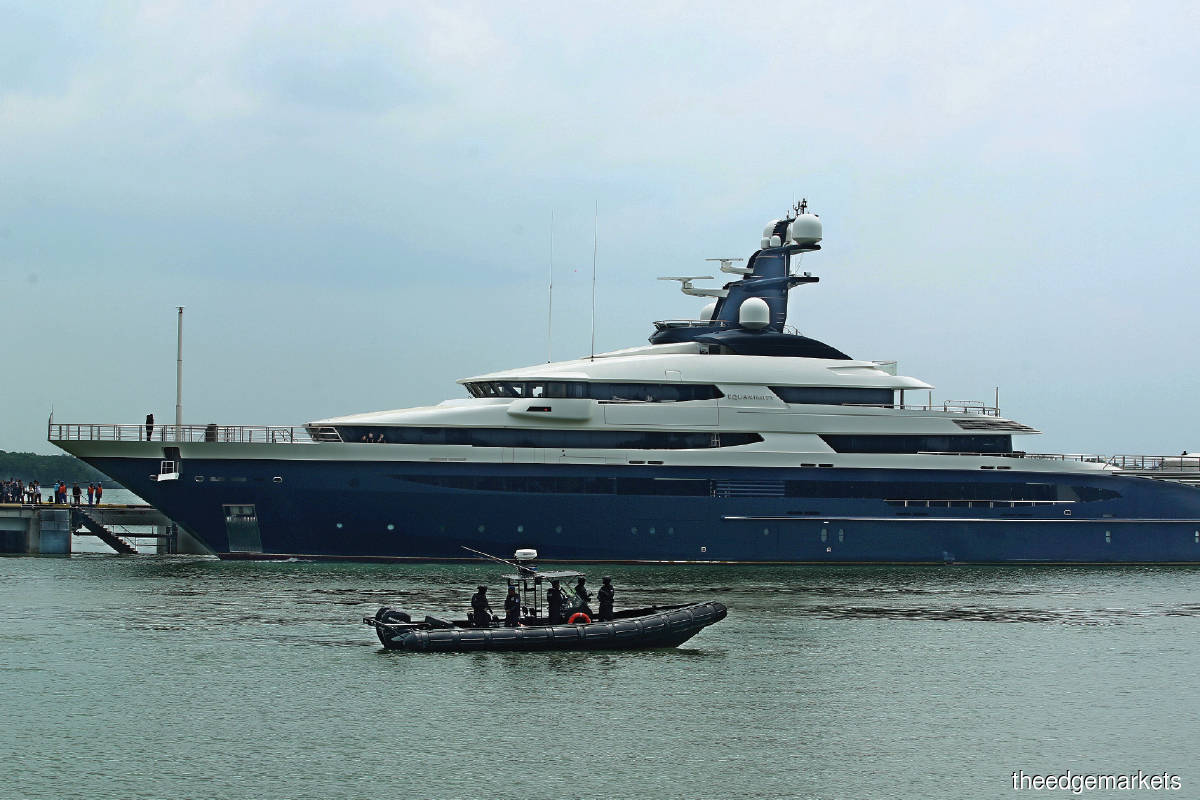 The superyacht docking at Port Klang in August 2018 after it was handed over by Indonesian authorities in waters off the Singapore Straits (Photo by Mohd Izwan Mohd Nazam/The Edge)
